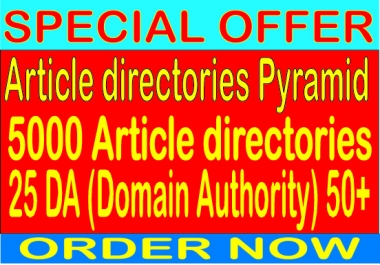 Best articles direction Pyramid With 5000 articles direction from 25 DA 50 Backlinks