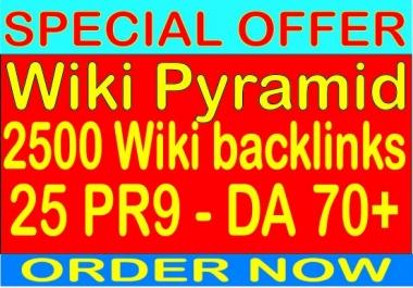 Ranking Wiki Pyramid With 2500 Wiki backlinks- 25 PR9 - DA (Domain Authority) 70+