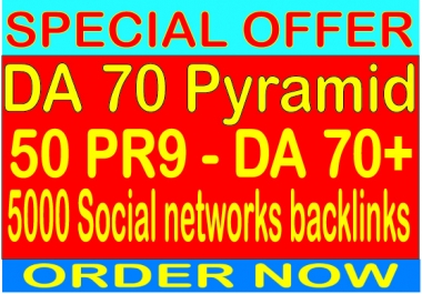 Super DA 70 Pyramid With 50 DA 70 from 5000 Unlimited Social Networking Backlinks