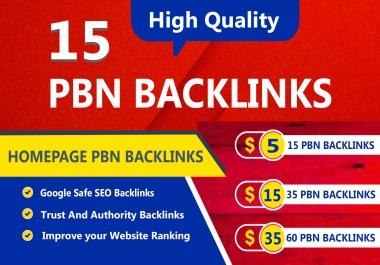 Build 15 High TF CF DA PA Homepage PBN Backlinks, Dofollow links