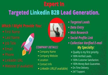 Furnish Targeted 20 B2B LinkedIn Lead Generation and Web Research