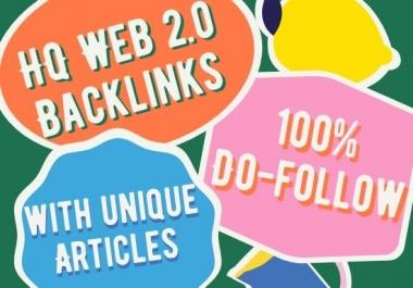 Create 20 Manual Web 2.0 Do follow 50-90+Da Backlinks With Login Details