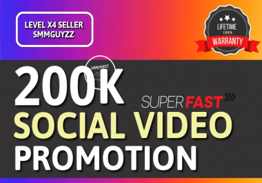 Fast SOCIAL VIDEO Real Promotion With Lifetime Guarantee