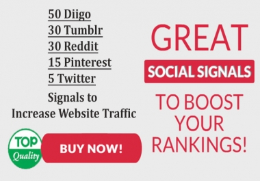 50 Diigo, 30 Tumblr, 30 Reddit, 15 Pinterest, 5 Twitter Signals to Increase Website Traffic