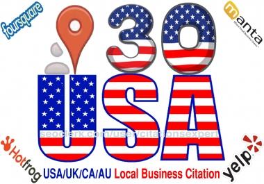 I will do Manually TOP 30 Live USA/UK/CA/AU Local Citations for Local SEO