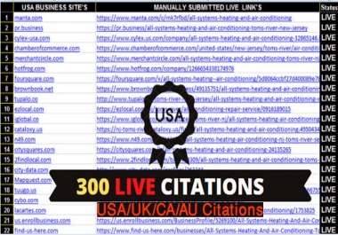 I will do Manually TOP 300 Live USA/UK/CA/AU Local Citations for Local SEO