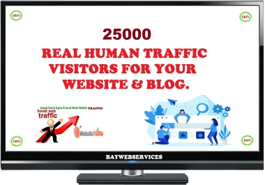 25000 Real Human Traffic & Social Visitors to website and blog