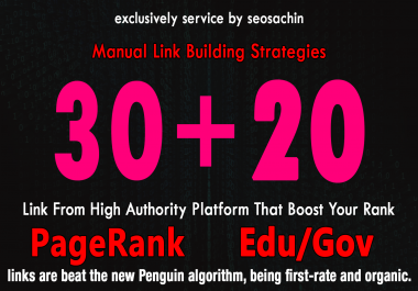 Skyrocket Your Google Rankings, With 30 PR9 + 20 EDU GOV Permanent Backlinking
