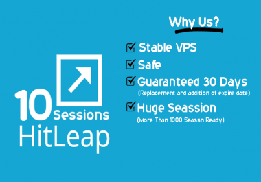 Run 10x Hitleap Sessions to Your Hitleap on Our Stable VPS 24x7 for 30 Days