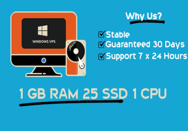 Stable Windows RDP VPS 1GB RAM 1vCPU Guaranteed 30 days