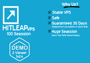 100 X Hitleap VPS to running your Htleap Sessions for 30 Days support 24x7