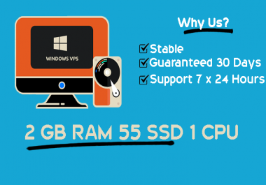 Stable Windows RDP VPS With 2GB RAM v1CPUs Guaranteed 30 days
