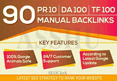 90 High Quality Authority SEO Backlinks DA100 and TF CF 100 Unique Domain