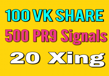 100 Vk Share 500 PR9 And 20 Xing social bookmarking Real Seo Social Signals