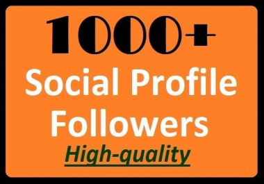 1000+ Social Media Profile Followers High-quality and Super fast delivery