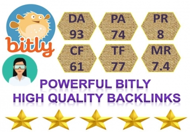 Supper Powerful Bitly 100 Share Backlinks High Quality DA,93 PA,74 Backlinks
