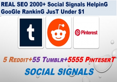 Real SEO 5 Reddit signals+ 55 Tumblr+ 5555 Pinterest shares from SEO Social Signals Share Bookmarks