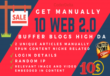 Grab 10 Web 2.0 Buffer Blogs Manually Created with Login Details and Blog Links