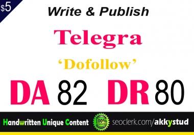 """write and publish UNIQUE guest post on """"Telegra"""" DA-82"""