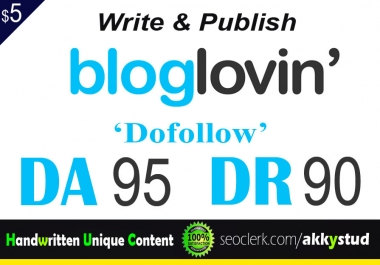 "write and publish UNIQUE guest post on "" Bloglovin"" DA-95"