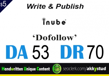 "write and publish UNIQUE guest post on ""Inube"" DA-53"