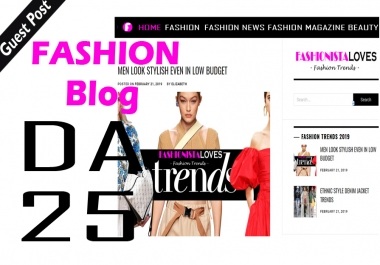 Write And Publish Dofollow Guest Post On Fashion Blog Fashionistaloves DA-25