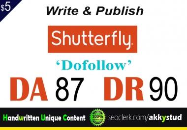 "write and publish UNIQUE guest post on ""Shutterfly"" DA-87"