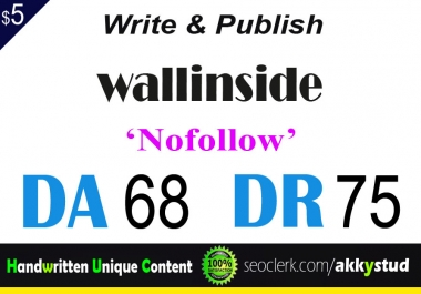 "write and publish UNIQUE guest post on ""Wallinside"" DA-68"