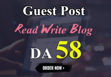 I will write and publish UNIQUE guest post On READ WRITE BLOG DA-58