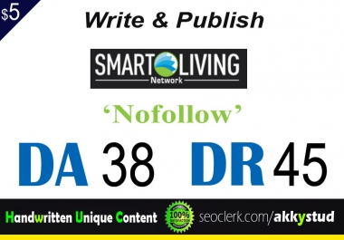 "write and publish UNIQUE guest post on ""SmartLivingNetwork"" DA-38"
