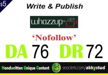 "write and publish UNIQUE guest post on ""Whazzup-u"" DA-76"