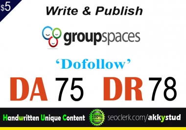 "write and publish UNIQUE guest post on ""Groupspaces"" DA-75"