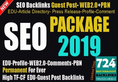 NEW SEO Package 2019- Guest Posts- EDU Backlinks- High Authority Video Submission-Press Release-WEB2