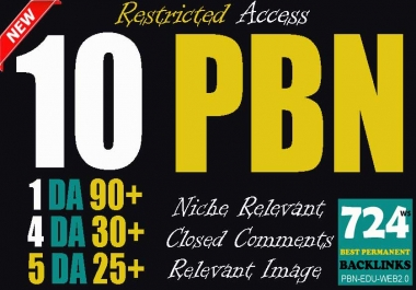 Buy 10 Superstrong PBN backlinks (1 DA90 + 4 DA30 + 5 DA25 Permanent links