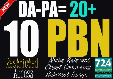 10 Restricted Access PBN DA-PA-TF-CF +25 MOZ Rank = 2.5+ Permanent Backlinks