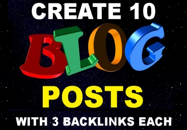 Create 10 Web 2.0 Blog Posts with 3 Contextual Backlinks in each Blog Post