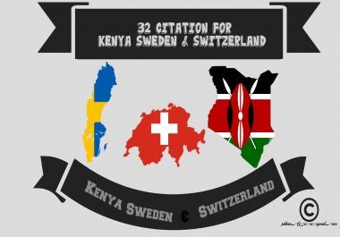 32 citation for Kenya Sweden & Switzerland