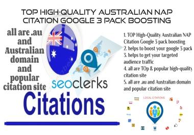 Google 3 pack boosting High-quality 100 Australian NAP Citation