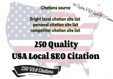 250 Quality USA Local SEO Citation for USA Website and business