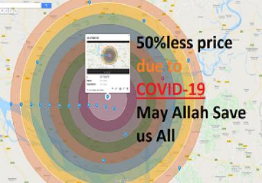 1000 google point map citation+30 miles multiple radius + 1000 image/logo/banner