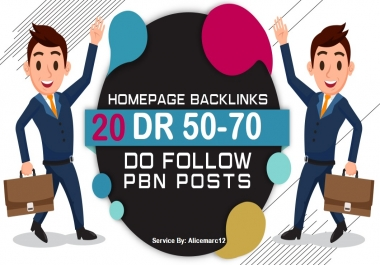 Make Homepage backlink 20 DR 50-70 Dofollow PBNs High Quality backLinks