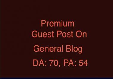 Premium guest post on da70 spam free general blog