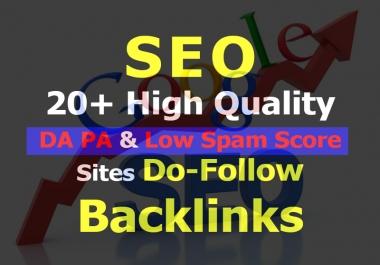 Get 20+ High Quality DA PA & Low Spam Score Sites Do-Follow Backlinks Very Fast