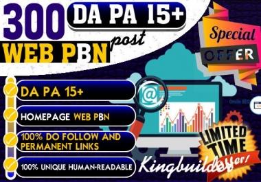 300 WEB 2.0 High TF CF DA PA Homepage PBN Backlinks Permanent