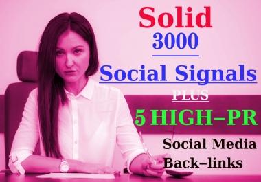 Solid 3000 Social Signals with 5-High PR Social Media Back-links