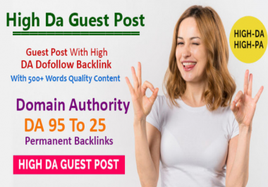 Write & Publish 7 Guest post backlinks on DA 95 to 25 Websites