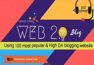 Write and Publish 100 Super Web 2.0 blogs Post SEO Backlinks Service With Login Details
