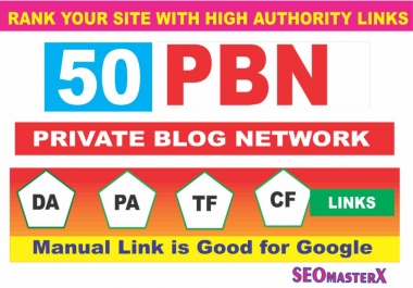 Manually build 50 Permanent Homepage PBN Links - Carefully Selected PBNs to Boost Website