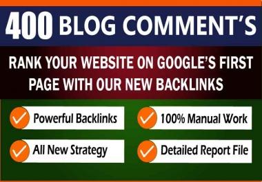 Permanent 400 Unique Hihg DA PA TF CF SEO Quality Do-Follow Blog Comments Backlinks