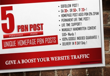 create 5 permanent pbn posts with DA 30+ DR 50+ TF 20+ Push your website rank on Google Top Page